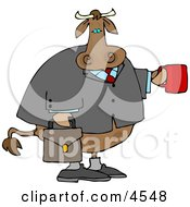 Business Cow Carrying A Briefcase And Holding A Cup Of Coffee by djart