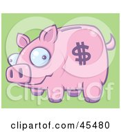 Goofy Pink Piggy Bank With A Dollar Symbol On Its Side