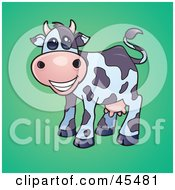 Royalty Free RF Clipart Illustration Of A Smiling Dairy Cow With Pink Udders by John Schwegel