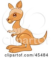 Royalty Free RF Clipart Illustration Of A Young Brown Kangaroo In Profile by John Schwegel