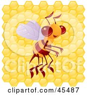 Royalty Free RF Clipart Illustration Of A Proud Bee Buzzing In Front Of A Honeycomb by John Schwegel