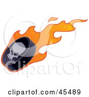 Royalty Free RF Clipart Illustration Of A Skull On A Flaming Hockey Puck by John Schwegel