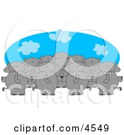 Anthropomorphic Elephant Herd Standing Together And Holding Hands Clipart