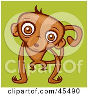 Royalty Free RF Clipart Illustration Of A Confused Brown Monkey Staring At The Viewer by John Schwegel