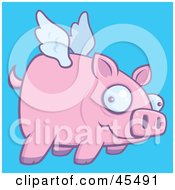 Confused Pink Pig Flying In A Blue Sky