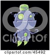 Royalty Free RF Clipart Illustration Of A Futuristic Metal Fish Robot Flying by John Schwegel