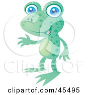Royalty Free RF Clipart Illustration Of A Friendly Spotted Green Frog With Blue Eyes by John Schwegel