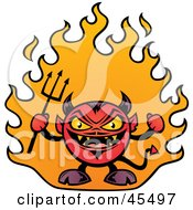 Royalty Free RF Clipart Illustration Of A Fat Little Devil Waving A Pitchfork And Standing In Flames by John Schwegel