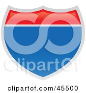 Royalty Free RF Clipart Illustration Of A Blank American Interstate Sign by John Schwegel