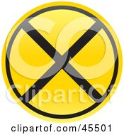 Royalty Free RF Clipart Illustration Of A Circle Railroad Crossing Warning Sign by John Schwegel