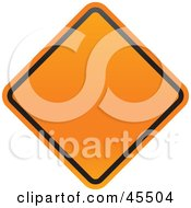 Royalty Free RF Clipart Illustration Of A Blank Orange Diamond Shaped Construction Zone Sign by John Schwegel