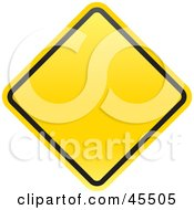 Blank Yellow Diamond Shaped Warning Sign With A Black Border
