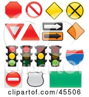Royalty Free RF Clipart Illustration Of A Digital Collage Of Street Lights And Signs by John Schwegel