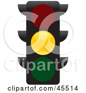 Royalty Free RF Clipart Illustration Of A Yellow Street Light