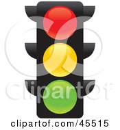 Royalty Free RF Clipart Illustration Of A Confusing Red Yellow And Green Illuminated Street Light by John Schwegel
