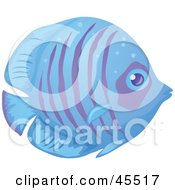 Royalty Free RF Clipart Illustration Of A Shy Blue And Purple Striped Fish In Profile