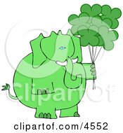Anthropomorphic Green Elephant With Shamrock Balloons On St Patricks Day Clipart