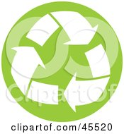 Royalty Free RF Clipart Illustration Of White Recycle Arrows Over A Light Green Circle