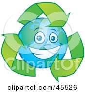 Royalty Free RF Clipart Illustration Of A Happy Planet Earth Smiling And Being Circled By Recycle Arrows by John Schwegel