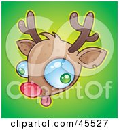Royalty Free RF Clipart Illustration Of Rudolph The Red Nosed Reindeer Making A Silly Face