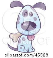 Royalty Free RF Clipart Illustration Of A Happy Blue And Purple Puppy Sitting And Nibbling On A Bone by John Schwegel