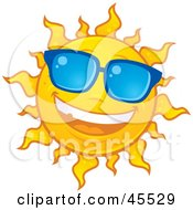 Royalty Free RF Clipart Illustration Of A Smiling Sun Shining And Wearing Blue Shades by John Schwegel