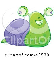 Happy Smiling Green And Purple Snail