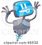 Royalty Free RF Clipart Illustration Of A Silly Robot With A Computer Head Making A Funny Face by John Schwegel
