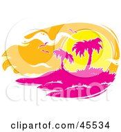 Royalty Free RF Clipart Illustration Of Seagulls Flying Against An Orange Sunset Over A Pink Tropical Island by John Schwegel