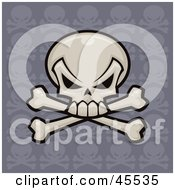 Royalty Free RF Clipart Illustration Of A Skull And Crossbones With A Repeat Pattern Purple Background