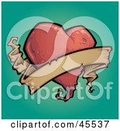 Royalty Free RF Clipart Illustration Of A Red Heart Tattoo Background With A Blank Banner by John Schwegel