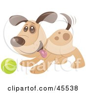 Royalty Free RF Clipart Illustration Of A Playful Puppy Dog Wagging His Tail And Playing Fetch With A Tennis Ball by John Schwegel