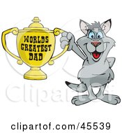 Royalty Free RF Clipart Illustration Of A Kangaroo Character Holding A Golden Worlds Greatest Dad Trophy