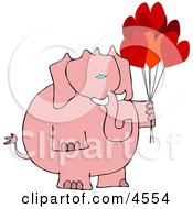 Anthropomorphic Pink Elephant With Heart Balloons On Valentines Day