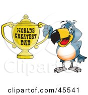 Toucan Bird Character Holding A Golden Worlds Greatest Dad Trophy