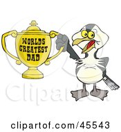 Shag Bird Character Holding A Golden Worlds Greatest Dad Trophy