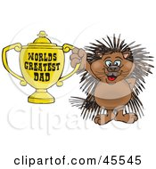 Porcupine Character Holding A Golden Worlds Greatest Dad Trophy