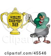 Pigeon Bird Character Holding A Golden Worlds Greatest Dad Trophy