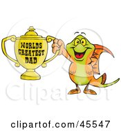 Swordtail Fish Character Holding A Golden Worlds Greatest Dad Trophy