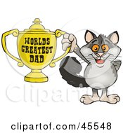 Royalty Free RF Clipart Illustration Of A Possum Character Holding A Golden Worlds Greatest Dad Trophy