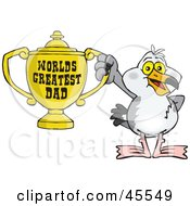 Seagull Character Holding A Golden Worlds Greatest Dad Trophy
