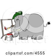 Anthropomorphic Elephant Painter Painting A Picture On Canvas Clipart