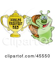 Royalty Free RF Clipart Illustration Of A Snail Character Holding A Golden Worlds Greatest Dad Trophy