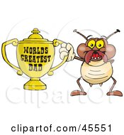 Royalty Free RF Clipart Illustration Of A Termite Character Holding A Golden Worlds Greatest Dad Trophy by Dennis Holmes Designs