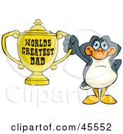 Penguin Bird Character Holding A Golden Worlds Greatest Dad Trophy
