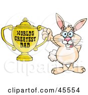 Rabbit Character Holding A Golden Worlds Greatest Dad Trophy