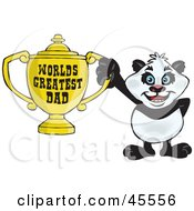 Giant Panda Character Holding A Golden Worlds Greatest Dad Trophy