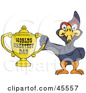 Terradactyl Bird Character Holding A Golden Worlds Greatest Dad Trophy
