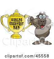 Sea Lion Character Holding A Golden Worlds Greatest Dad Trophy