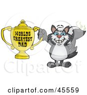 Skunk Character Holding A Golden Worlds Greatest Dad Trophy
